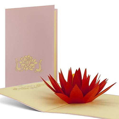 Verjaardagskaart Wellness, seerose van papier als pop-upkaart, mooi cadeau en goed geschikt als voucher voor yoga of een meditatiereis, hoogwaardig, edel, F03
