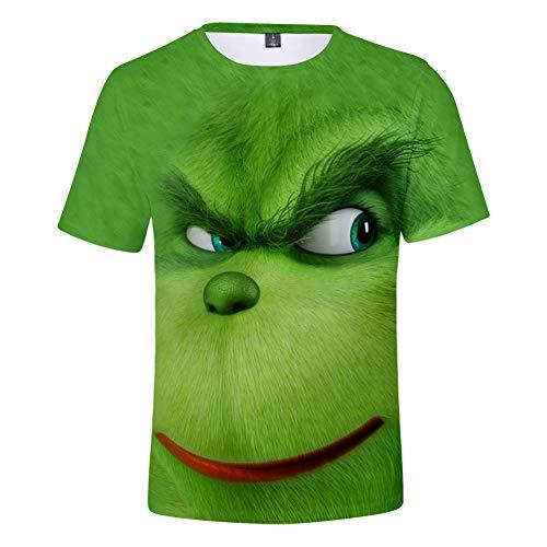 AQWD The Grinch Maniche Corte Casual estive 3D, Maglietta Unisex, Maglietta Polo Regalo per Bambini, Felpa per Bambini T-Shirt-S