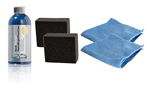Koch Chemie Nano Magic Plast Care Kunststoffpflege 500 ml & 2X Schwamm & 2X Tuch