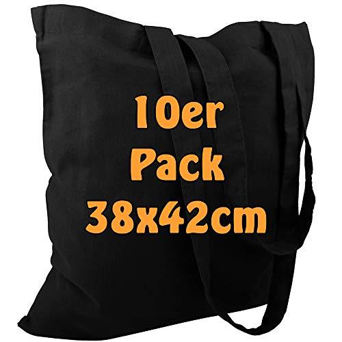 Cottonbagjoe Baumwolltasche Jutebeutel unbedruckt mit Zwei Langen Henkeln 38x42cm (Schwarz, 10 Stück)