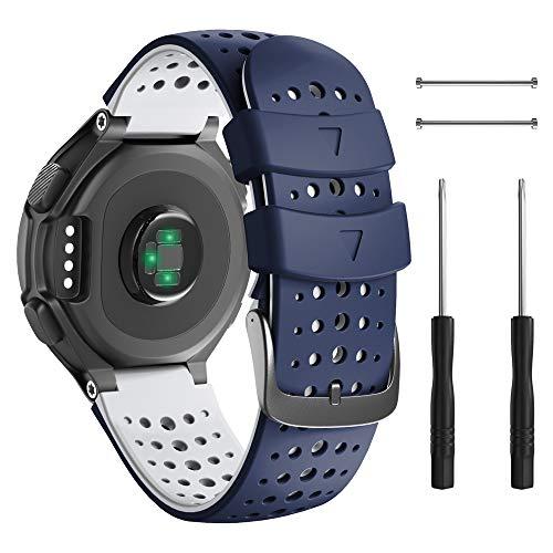 ANBEST Pulsera compatible con Forerunner 230/220/235/620/630/735XT de silicona, correa deportiva para Approach S20/S5/S6, color azul oscuro y blanco