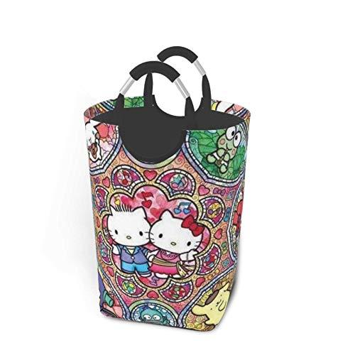 Hello Kitty - Cesta de la ropa sucia plegable con asas grandes, cesta de almacenamiento portátil ideal para habitación de los niños, dormitorio universitario o sala de estar 50 lbla