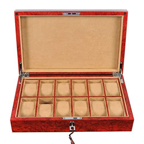 12-Slot Uhrenbox Vollholz Uhren Organizer Aufbewahrungskoffer Halter Schmuck Vitrine mit Schlüssel & Schloss Premium Uhren Display