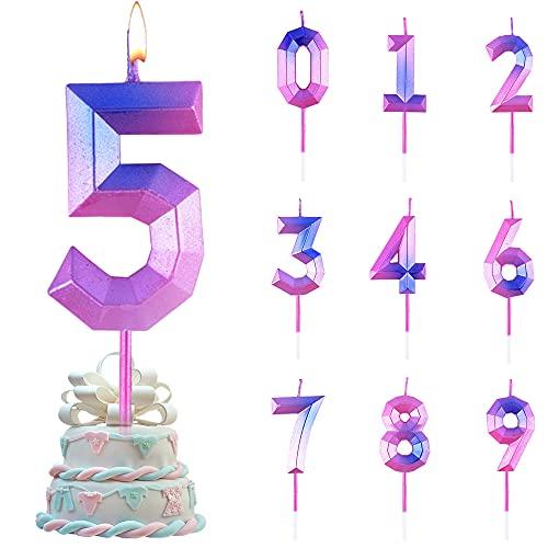 Velas De Cumpleaños Número,Velas de Tarta de Cumpleaños, Velas de Pastel,Velas de Cumpleaños para Decorar Pasteles y Fiestas de Cumpleaños,Bodas (5)