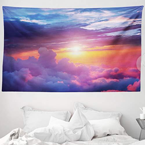 ABAKUHAUS Landschaft Wandteppich & Tagesdecke, Sunset Sky and Clouds, aus Weiches Mikrofaser Stoff Wand Dekoration Für Schlafzimmer, 230 x 140 cm, Blau Gelb Violett