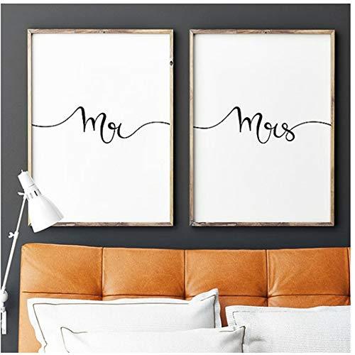 """NO BRAND Cuadro en Lienzo Mr and Mrs Print Wall Art, Regalos para recién Casados Dormitorio Decoración romántica de la Pared Parejas Imprimir 20x30cm (7.8""""x11.8) x2 Sin Marco"""