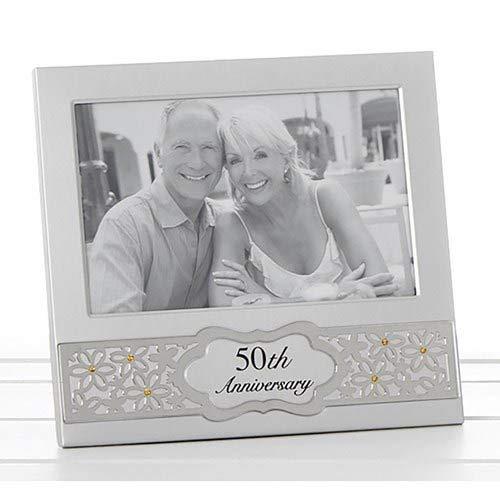Golden 50th Wedding Anniversary 70864 - Marco de fotos (plata satinada con diamantes dorados).