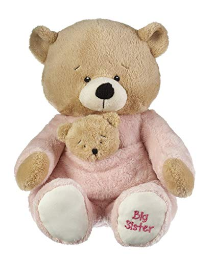 Ganz Baby's First Big Sister Bear Brown, Pink 14 inches
