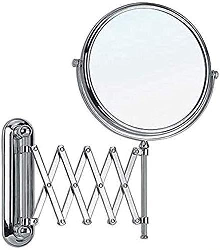 WQERLC Espejo de Pared, 6 Pulgadas Espejo de Maquillaje de Doble Cara Espejo de Maquillaje de Doble Cara Móvil Espejo de Belleza Plegable Telescópico 3 Aumentos Bespejo de Baño, Espejos de Baño Monta
