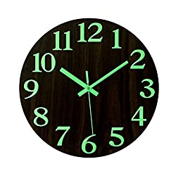 RuiyiF Wall Clock Non Ticking Glow in The Dark Wooden Battery Operated Night Light for Kids Room Kitchen Bedroom Living Room Vintage with Second Hands