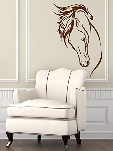 Tianpengyuanshuai Kunst Vinyl Aufkleber Raum Aufkleber Tier Pferd Kopf nach Hause Innendekoration Wandbild 63X97cm