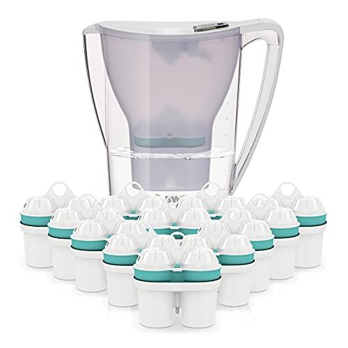 BWT Wasserfilter Penguin 2.7 l weiß inkl. 13 Filterkartuschen | Immun Boost Premium mit Magnesium & Zink | Jahres-Vorrat an Zink-Kartuschen