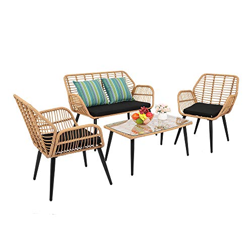 YUJISO Rattan Garden Furniture 4 Piece Set, Patio Outdoor Conservatory Wicker Chairs Set includes 2 Armchairs, 1 Double seat Sofa and Glass Top Side Table