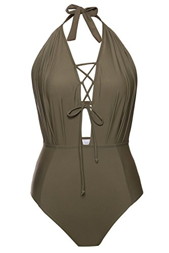 Dokotoo Womens Sexy Ladies Summer Push Up Swimsuit One Piece Monokini Swimwear Green XX-Large