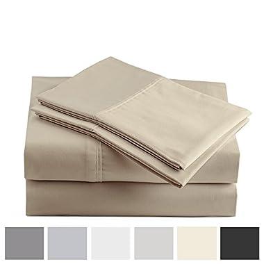 Peru Pima - 415 Thread Count - 100% Peruvian Pima Cotton - Percale - Bed Sheet Set (King, Latte)