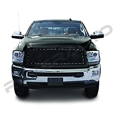 Razer Auto Gloss Black Rivet Studded Frame Mesh Grille Complete Factory Replacement Grille Shell for 10-17 Dodge RAM Trucks 2500+3500+Heavy Duty