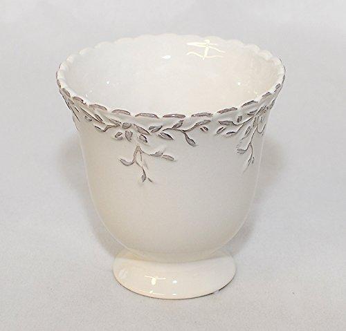 Coupe en Céramique Blanche Décorée Laqué 14 X 14 Cm