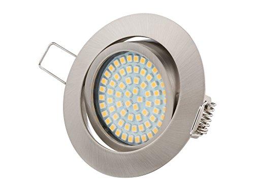 Ultra Flach LED Einbaustrahler - Warmweiss - 3.5W 230V Edelstahl Optik Schwenkbar - Einbauspots - Einbauleuchten