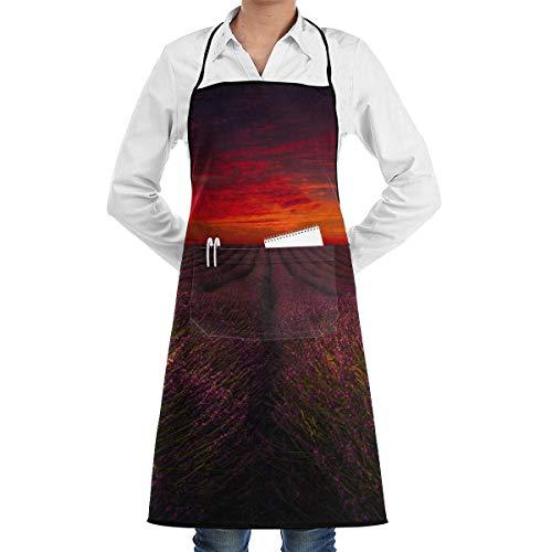 Eliuji Chef de Cocina Delantal con Peto Imagen del Faro Cuello Cintura Corbata Bolsillo Central