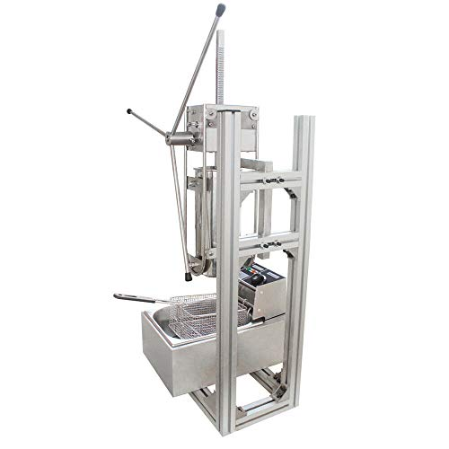 Manual Spanish Maker Machine w/Stand Commercial Manual Vertical 3L Churros Donut Machine 110V w/ 6/12L Fryer Commercial Use for Cake Room Coffee Shop Bakery Equipment (US Shipping) (With 6L fryer)
