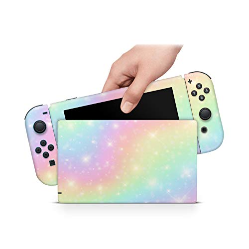 ZOOMHITSKINS Rainbow Pastel Stars Yellow Pink Green, High Quality 3M Vinyl Decal Sticker Wrap, Nintendo Switch Compatible, Made in the USA
