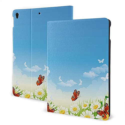 Case For Ipad 8/7 2020/2019 Model, Ipad Air3 & Pro 10.5in Print Theme - Spring Butterflies Flying Over Daisy Flowers Field Meadow Clear Cloudy Sky Cartoon Print Multicolor