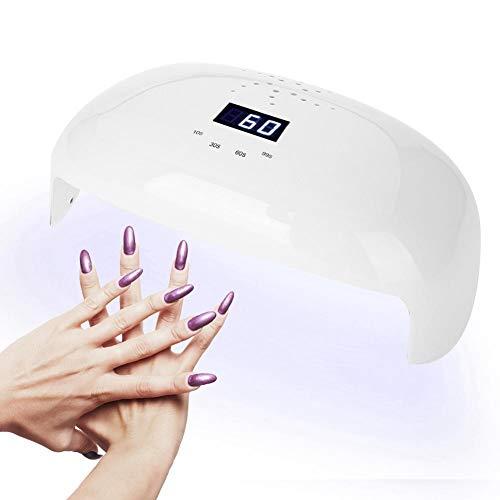 Lampe de sèche-ongles 72 W - Puissante lampe UV LED à séchage rapide - Capteur de voiture avec ventilateur pour guérison de toutes les pièces(EU)