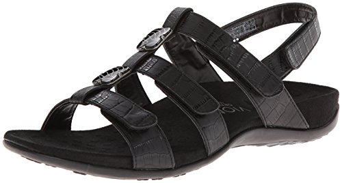 Vionic Women's, Amber Sandal Black Croco 8 W