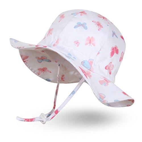 Ami&Li tots Niña Sombrero de Sol ala Ancha Ajustable Sombrero Protección Solar UPF 50 para Bebés, Niñas Niños Infantil Pequeñito Unisexo - L:Mariposas Pastel