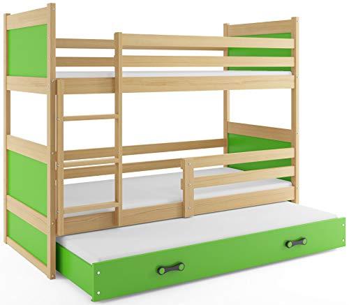 Interbeds Etagenbett Hochbett RICO 3 (für DREI Kinder) 160x80cm Frabe: Kiefer + 2. Farbe zur Wahl; mit Lattenroste und Matratzen (grün)