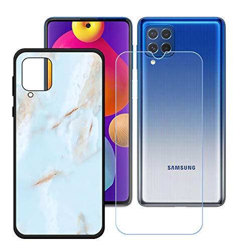 YZKJSZ Funda para Samsung Galaxy F62 + Protector de Pantalla Cristal Templado Film Película,Silicona Negro Carcasa TPU Suave Caso Case para Samsung Galaxy F62 (6.7') - OP38