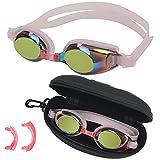 BEZZEE PRO Gafas Natacion Rosadas para Niñas - Gafas Piscina Niños Protección UV Antivaho con Estuche de Almacenamiento y 3 Puentes Nasales Suaves de Distintos Tamaños – Herméticas Jóvenes y Niñas
