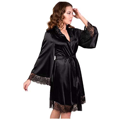 Dorical Damen Morgenmantel Maxi Lang Seide Satin Kimono Kleid Einfarbiger Bademantel Damen Lange Robe Reine Farbe Schlafmantel Nachthemd Nachtkleid Spitze Nachtwäsche mit Gürtel(Medium,Schwarz)