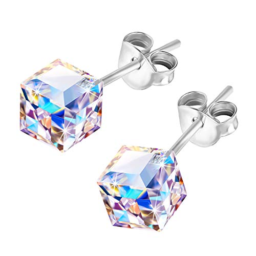 AMOR SPES Iridescent Color Change Crystal Square S925 Sterling Silver Stud Earrings Women Girl Gifts