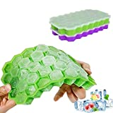 YUECHAO Silikon Eiswürfelform mit Deckel   2 Stück 37-Fach Eiswürfel Form Eiswürfelbehälter   DIY Ice Cube Tray für Familie, Partys und Bars   BPA-frei & LFGB Zertifiziert (Grün & Violett)