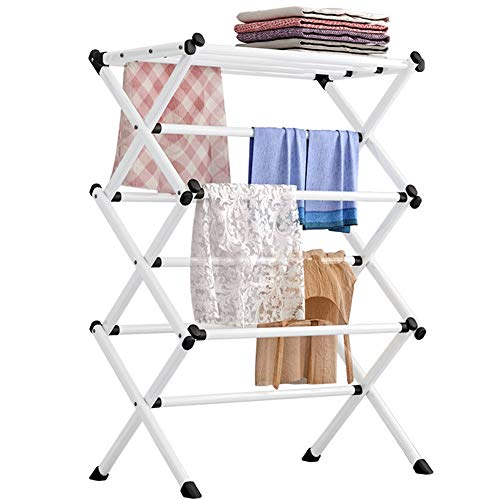 FKUO Household Indoor Folding Clothes Drying Rack, Dry Laundry and Hang Clothes,Towel Rack (White)