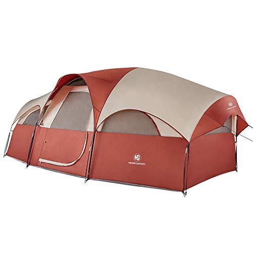 TOMOUNT 8-Person Tent - Quick & Easy Setup Camping Tent, Professional Waterproof & Windproof Fabric, 5 Large Mesh for Ventilation, Double Layer, Lightweight & Portable with Carry Bag, Red …