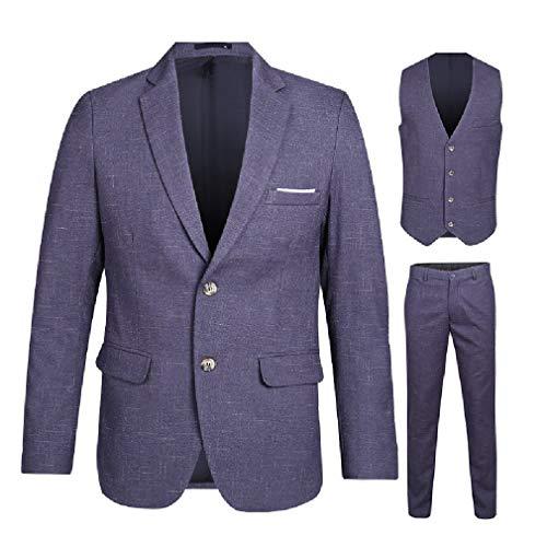 Cobamx Hombres 3 Piezas de múltiples Bolsillos Solapa sólido Zip-Button Blazer Tux Chaleco&amás 2 L