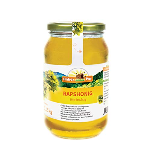 Rapsblüten-Honig von ImkerPur, 1200g, kaltgeschleudert, perlmuttfarben, dickflüßige Konsistenz