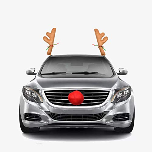 Beeager Car Reindeer Christmas Decoration Antlers & Nose Costume Reindeer Christmas Car Character Kit Party Accessory