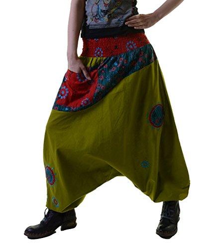 KUNST UND MAGIE Bunte Haremshose aus Baumwolle - Ibiza Strandhose, Wellnesshose, Farbe:Grün