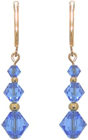 ATHALIE gold plated sapphire blue crystal clip on earrings