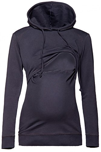 Happy Mama. Damen Kapuzenpullover Stillzeit Top Zweilagiges Sweatshirt. 272p (Graphit, 40, L)