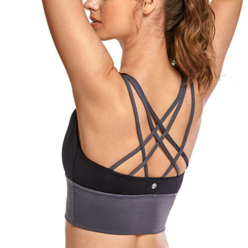 CRZ YOGA Damen Sport Yoga Longline BH- Abnehmbare Polsterung,Ohne Bügel, Kreuzentwurf Mehrfarbig #1 XS