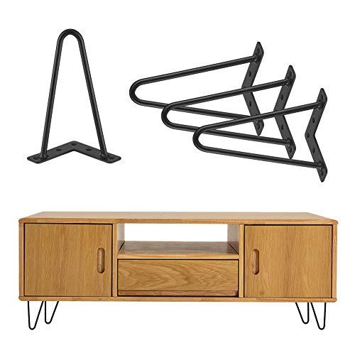 4 Stück Haarnadel Tischbeine Möbelfüße Metall Tischgestell Haarnadelbeine Möbelbein Austauschbare Möbelfüße für Esstisch Couchtisch Schreibtisch Arbeitstisch Durchmesser (20 cm)