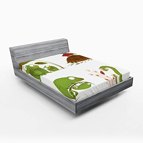 Ambesonne Reptile Fitted Sheet, Reptile Family Colorful Baby Snake Frog Ninja Turtles Love Mother Family Theme, Soft Decorative Fabric Bedding All-Round Elastic Pocket, Full Size, Green Brown Red