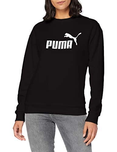 PUMA Damen ESS Logo Crew Sweat TR Pullover, Cotton Black, S