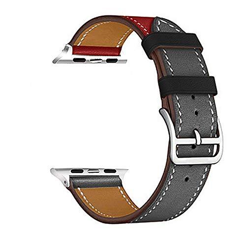 Correa Reloj Banda de Reloj de Cuero Serie5 / 4 3/2/1 Pulsera Deportiva 42 mm 38 mm Correa para 6 SE Banda 40mm 44mm 1 (Band Color : Red Gary)