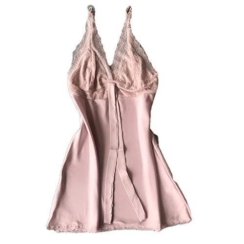 Damen-Kleiderröcke Für Damentiefem V-Ausschnitt Nachthemd Weiblicher Spitze Sexy Hot Fun@M_ Pink