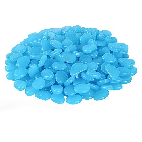 YUIP Piedras Luminosas Azul 200pcs Stone Brillante Roca Fluorescente Adorno pecera para Decorar jardín hogar Botella Maceta Acuario balcón Pared Piscina y Lago y identificar vereda en Patio